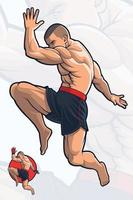kick boxing patada de rodilla voladora vector