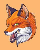 Japanese Style Red Fox Head Illustration vector
