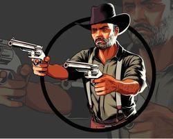 vaquero en acción apuntando con dos pistolas vector