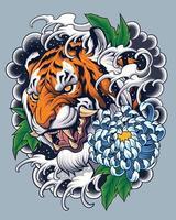diseño de tatuaje de tigre de estilo japonés vector