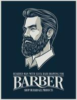 Beard Man illustration for Hairstyle products and business vector