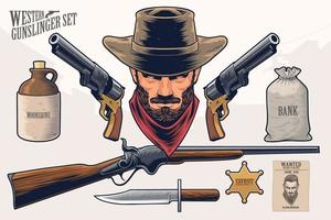 Western Gunslinger Set vector