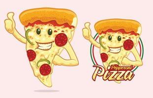 diseño de mascota de pizza para vendedor de pizza vector