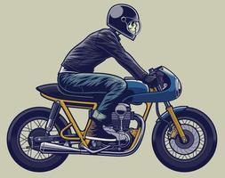 motocicleta cafe racer con ilustración de motociclista para elementos de diseño o logotipo. casco en capa separada. vector