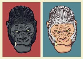 Albino gorilla illustration for design elements vector