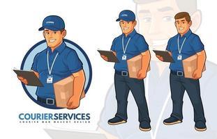 diseño de mascota de servicios de mensajería vector