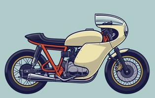 moto vintage cafe racer bicicleta vector