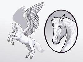 Pegasus drawing for Illustration and design element vector