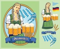 oktoberfest design dama alemana llevando grandes cervezas vector