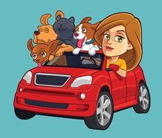 chica conduciendo coche con mascotas vector