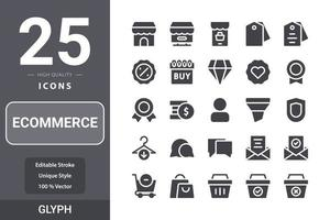 Ecommerceicon pack for your web site design, logo, app, UI. Ecommerce icon glyph design vector