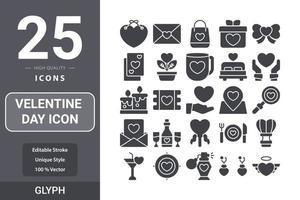 diseño del paquete de glifos del icono del día de san valentín vector