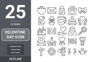 diseño de paquete de contorno de icono del día de san valentín vector