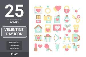diseño de paquete plano de icono del día de san valentín vector