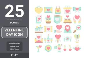 Velentine's Day icon flat pack design vector