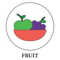 Realistic plate with fruits on a white background - Vector