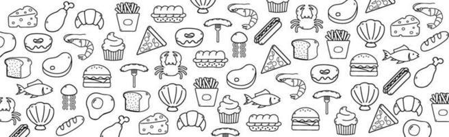 Fondo blanco abstracto con elementos de alimentos útiles - vector