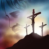 The crucifixion of Jesus Christ Concept vector