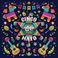 concepto de piñata mexicana cinco de mayo vector
