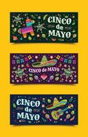 Celebration of Cinco de Mayo Banners vector