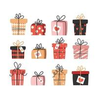 Collection of valentine's day gifts in flat style, set of different boxes vector