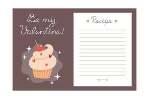 Valentines Day holiday baking recipe template with ingredients and instructions vector