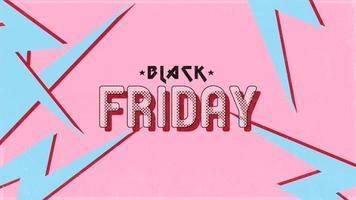 animazione intro testo venerdì nero su hipster rosa retrò e sfondo grunge con fulmine video