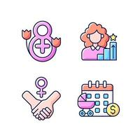 Conjunto de iconos de color rgb de feminismo vector
