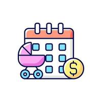 licencia de maternidad pagada icono de color rgb vector