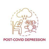 icono del concepto de depresión poscovid vector