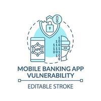 icono de concepto de vulnerabilidad de la aplicación de banca móvil vector