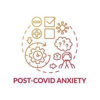 icono del concepto de ansiedad post-covid vector