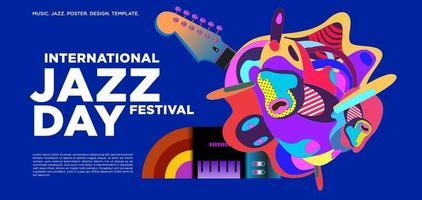 Vector colorful international jazz day banner design