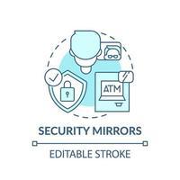 icono de concepto de espejos de seguridad vector