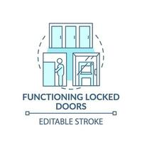 Funcionamiento icono de concepto de puerta cerrada vector