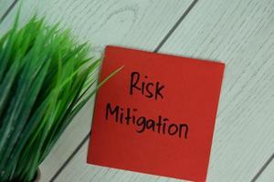 Mitigación del riesgo escrito en una nota adhesiva aislado en la mesa de madera foto