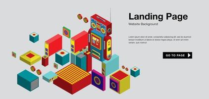 Vector colorful isometric and robot landing page banner