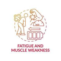 Fatigue and muscle weakness concept icon vector