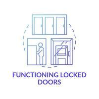 Functioning locked door concept icon vector