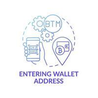 Entrar en el icono del concepto de dirección de billetera vector