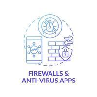 icono de concepto de aplicaciones de firewall y antivirus vector