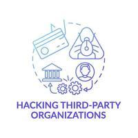 hackear el icono del concepto de organizaciones de terceros vector