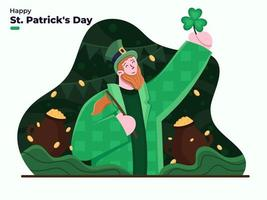 Saint Patrick's Day flat illustration 17 march. Day of the Festival of Patrick. Happy St Patrick's Day with Clover leaf with person wearing Leprechaun costume with golden coins in pots background. vector