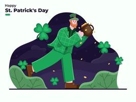 Happy St. Patrick's Day illustration with Leprechaun Cartoon character bringing golden coin pot. Saint Patrick's Day Celebration. Flat illustration St Patrick Day. Suitable for banner, poster, web, card vector