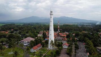 Banten, Indonesia 2021-- Aerial view of Lighthouse sea rock sunset landscape photo