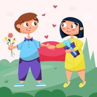 Family on a romantic walk in the park vector
