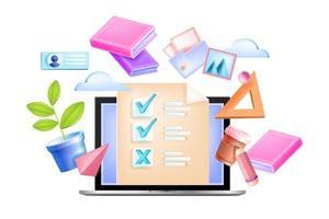 Online exam vector education illustration, web school test isolated concept, laptop screen, check boxes, list. Internet distance quiz, questionnaire, poll design. Online exam, digital survey, book