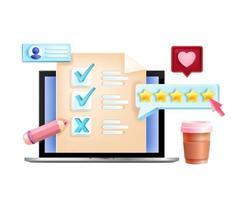 Online vector survey, internet feedback, digital questionnaire form concept, laptop screen, stars. Web research quality application, marketing quiz. Social media online survey isolated illustration