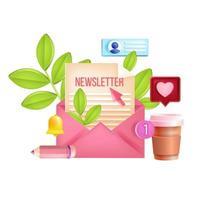 Newsletter subscription, monthly email vector web 3D illustration, envelope, letter, notification bell. Internet marketing digital concept, business article, blog posts. Newsletter subscription design