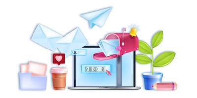 Vector email digital business, internet marketing banner, laptop screen, subscribe button,open mailbox. Social media web network, online communication concept. Email marketing, newsletter subscription